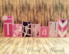 Custom order pink wooden block set for home decor. Visit my FB page www.facebook.com/kimswoodnwords or follow me on Instagram @woodnwords. #woodnwords #personalized #giraffe #pink
