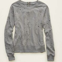 Aerie gray sweatshirt small Aerie gray sweatshirt. Has colorful paint splatter on the front and a silver half zipper in the back. EUC. No holes, stains or wash wear. ▪ willing to negotiate price ▪ no trades, no paypal ▪  ▪ bundle discounts ▪ American Eagle Outfitters Tops Sweatshirts & Hoodies