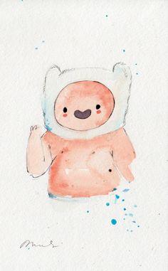 ORIGINAL PAINTING SET (2) Finn and Jake baby, 5x8 inches / Adventure Time Fan Art Finn. $25.00, via Etsy.