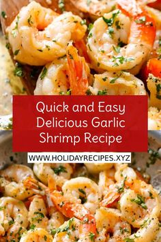 Quick & Easy Delicious Garlic Shrimp Recipe - A flavorful shrimp dish that can be ready in a few minutes. Night Dinner Recipes, Romantic Dinner Recipes, Winter Dinner Recipes, Quick Dinner Recipes, Healthy Soup Recipes, Whole 30 Recipes, Clean Eating Recipes, Garlic Shrimp, Easy Meals