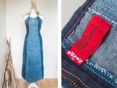 Vintage Levis X-Small Blue Jeans Halter Maxi by VintageVanillaShop