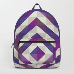 Patchwork Purples Backpack by Fimbis    Ultra violet, purple, travel, bags, fashionista, symmetry, fashion, adventure, school bag, back to school,