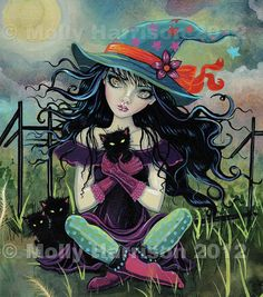 ACEO Kitten Witch and Black Cats Halloween LE Print number 1 by Molly Harrison