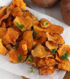 Crisp, delicious, salty baked sweet potato chips make the perfect healthy snack. Just 4 simple ingredients. Combine with this fresh dip. Paleo, Whole 30 approved. Sweet Potato Crisps, Potato Chips, Whole 30 Snacks, Whole 30 Recipes, Vegetarian Recipes, Cooking Recipes, Healthy Recipes, Savory Snacks, Healthy Snacks