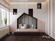 Luxurious Interior With Wood Slat Walls is part of children Room Girl - Get onboard with the wood slat wall trend with this luxurious home interior; featuring wood slat dividing walls, wall panel design and wood ceiling ideas Kids Bedroom Designs, Kids Room Design, Trendy Bedroom, Girls Bedroom, Bedroom Modern, Modern Beds, Kid Bedrooms, Bedroom Furniture, Bedroom Decor