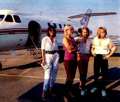 ABBA North American & European Tour 1979 -San Francisco-Concord. In the morning it's time to fly, this time even Agnetha is onboard. They are flying from Portland to San Francisco. It's too long to go by car. The show this evening starts one hour later than usual because the trucks with equipment and the buses must come as well. The drivers had driven whole night. The plane is landing some hundred meters from the hotel and it will be limousines as usual.