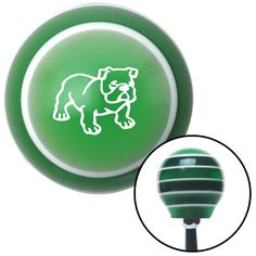 White English Bulldog Green Stripe Shift Knob with M16 x 15 Insert - Give your interior the ultimate look. American Shifter's Elite(TM) series shift knobs are made from the highest quality components resulting in a superior feel on every shift. Each shift knob is designed and customized in the USA by skilled shift knob artisans who have a trained eye on every detail. American Shifters shift knobs offers an exclusive aluminum threaded insert designed to be screwed onto your shift arm. You…