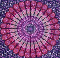 Fable9 Mandala Wall Tapestry | Traditional Indian Design Bohemian Home Decor | Pink tone Rectangular Cotton Fabric Wall Hanging Twin Size, 84 x 54 Inch -- Check out this great product. (This is an affiliate link and I receive a commission for the sales)