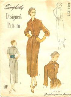 "Simplicity 8143 Designer's Pattern Dress, Bust 36"""