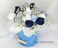 Baby Socks Roses Bouquet Tutorial ideal for Baby Shower