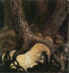 Image collections of Swedish artist John Bauer. Art and illustrations from Our Fathers' Godsaga, Swedish Fairy and Folk Tales, Lapp Folk, Swansuit, more. And of course trolls! John Bauer, Art And Illustration, Art Illustrations, Fairytale Art, Dark Art, Fantasy Art, Fairy Tales, Concept Art, Folk