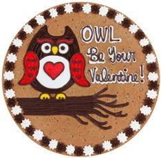 Owl Valentine Cookie Cake Giant Cookie Cake, Chocolate Chip Cookie Cake, Big Cookie, Cookie Frosting, Cookie Cakes, Cupcake Cakes, Giant Cookies, Frosted Cookies, Owl Cookies