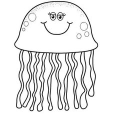 Jellyfish pattern. Use the printable outline for crafts