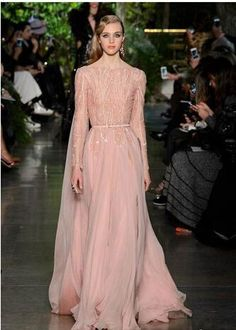 bd08c645a89b 2016 Elie Saab Evening Dresses Bateau Neck Long Sleeves Sequins Beaded A  Line Chiffon Long Celebrity Prom Dresses Formal Gowns Gold Evening Dresses  Ladies ...