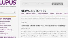Sun Rules: 5 Facts to Know About Summer Sun Safety Sun Allergy, Lupus Foundation Of America, News Stories, Summer Sun, First Names, Need To Know, Safety, Facts, Learning