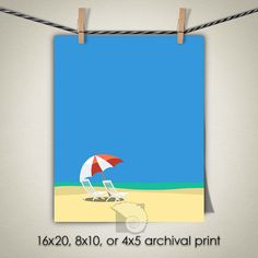 Beach print chairs and umbrella illustration North Carolina beach art ocean wall art beach house decor coastal paintings by CoastalFocusArt |  5.00 USD  The Chairs is one of a series of beach scenes all done in the same illustration style. You can put one or more of them together to create a full wall of fun cheerful beach house decor with a simple flat illustrative style. Please note: The print does NOT come with a watermark.  FREE US SHIPPING ON ALL PRINTS  All other locations contact for…