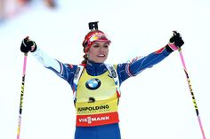 Gabriela Koukalova of Czech Republic  celebrates winning the 2nd place at the 10 km women's Pursuit during the IBU Biathlon World Cup at Chiemgau Arena on January 15, 2017 in Ruhpolding, Germany.