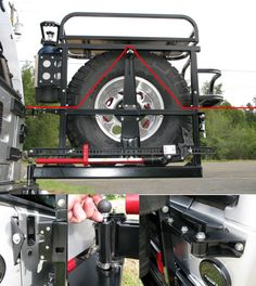 Hanson - TJ Rear Tire Carrier Red Jeep, Jeep Tj, Jeep Wrangler Tj, Jeep Truck, Truck Camper, Muscle Cars, Vw Lt, Jeep Camping, Jeep Mods