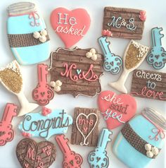 rustic chic engagement cookies