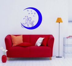 Wall Vinyl Sticker Decals Art Mural Two Cats In Love On The Moon O196