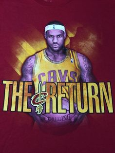 "EUC MENS LEBRON JAMES ""THE RETURN"" CLEVELAND CAVS ADIDAS RED T-SHIRT M #ADIDAS #ClevelandCavaliers #LEBRONJAMES #THERETURN"