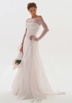 Bateau A-Line Wedding Dress  with Dropped Waist in Chiffon. Bridal Gown Style Number:32899510