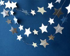 Gold & Silver garland Gold star garland by TransparentEsDecor