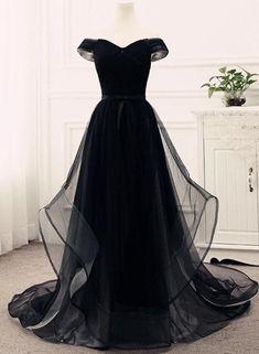Black Off Shoulder Junior Prom Dress 2018, Tulle Party Gowns, Evening Dresses #ElegantPartyGowns