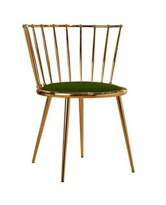 brass curved back chair with green upholstered seat | chair