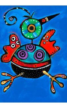 I pin it because I love it :) Art Brut, Happy Paintings, Indigenous Art, Whimsical Art, Native American Art, Elementary Art, Bird Art, Animal Paintings, Stone Painting