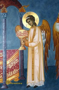 Lessons from the Divine Office for the Vigil of All Saints: Byzantine Icons, Byzantine Art, Religious Icons, Religious Art, Archangel Gabriel, Catholic Saints, Angels And Demons, Orthodox Icons, Aboriginal Art