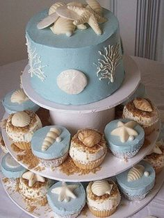 Cake plan B:I like the design on the side of the cake if the other isn't an option.  This color will look beautiful with the wedding colors.  Can we get some gold gliter on this:)