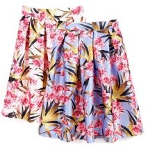 Ladies Big Flowers Printed Skirt High Waist Pleated Skirt Casual Clubwear Skirt
