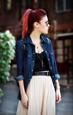 Hard femme in soft skirt and denim via this-is-hard-femme