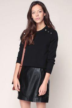 Pull noir laine merinos Caprisport Sessun pas cher prix Pull Femme Monshowroom…
