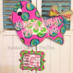 Hospital Birth Announcement Door Hanger / baby / bird / baby shower gift by paintedskyfirefly