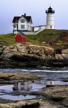Nubble Light, York Beach | Maine (by Chris Lazzery), you have to tour this one from a short distance, but they have a wonderful gift shop. The lighthouse keeper would trolley hisself over on a rope ;)