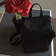 """Black Studded Backpack Details:                                                                      • Faux leather                                                             • Gunmetal studs                                                       • 12.5"""" H x 9.5"""" W x 6"""" D                                       Zip closure on back                                            Adjustable straps                                                10/10 condition Bags Backpacks"""
