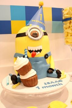 Cute Minion cake at a Despicable Me party!  See more party ideas at CatchMyParty.com!