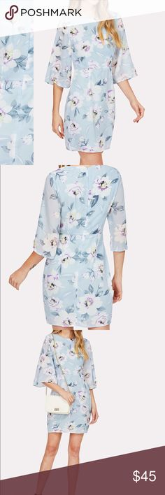 🆕Blue floral half sleeve beautiful dress Measurements see chart above  Zip back closure   🛍🛍Shop with confidence....I am a Poshmark ambassador, top rated seller, posh and sip host, and two time Poshmark party cohost. Bundle for best discounts. Check back often as new boutique items are added daily. Size not available? Leave a message and if it's available with my wholesale vendors I will order for you at no additional cost🛍 Dresses