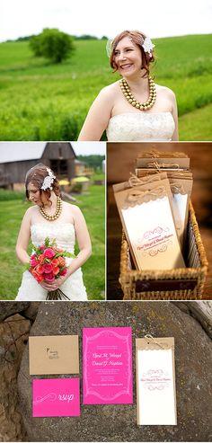 Hot pink wedding invitation and kraft paper ceremony program -