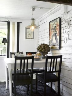 black and white dining nook in cottage