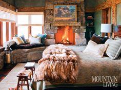 Bedroom in rustic Montana log home