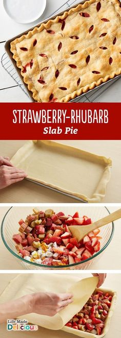Strawberry-Rhubarb Slab Pie Summer is here! And this fresh Strawberry-Rhubarb Slab Pie will be you favorite dessert recipe to bring to BBQs, picnics and potlucks. It preps in just 20 minutes and serves 24 people! Brownie Desserts, Rhubarb Desserts, Strawberry Rhubarb Pie, Just Desserts, Dessert Recipes, Picnic Desserts, Rhubarb Muffins, Coconut Dessert, Oreo Dessert