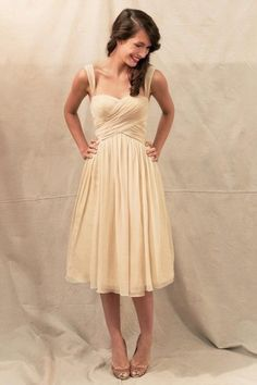 A-line Sweetheart Shoulder Straps Knee-length Chiffon Short Bridesmaid Dress | LynnBridal.com - this comes in heaps of colours, including blue