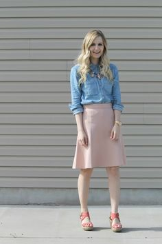 blush pink midi skirt, j.crew, wedges, spring style, chambray top, serenity, rose quartz, fashion blogger