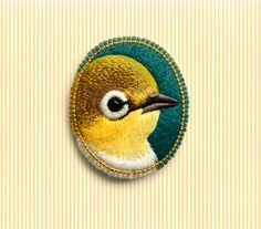 yellow . bird . brooch . handmade . felt . needle felted . hand embroidered . animal