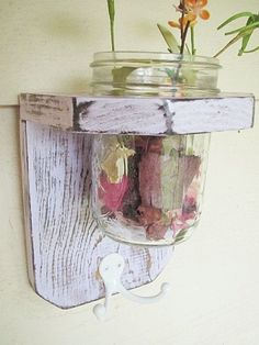 Rustic wood shelf / sconce
