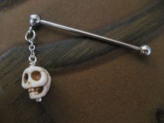 Industrial Barbell Piercing Jewelry White Turquoise Skull Charm Dangle Bar 14g 14 G Gauge Ear Bar Earring