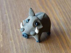 Tiny warthog Handmade miniature polymer clay by AnimalitoClay